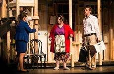 """Sterling College students Courtney Swanson, Katie O'Brien and Will Dutton rehearse for """"Noises Off,"""" the farcical comedy that includes slapstick comedy, missed cues, friction between actors, vanishing props, a lot of door slamming and flying sardines."""